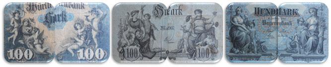 Alemania inicios s.XX Alegorias 100 marcos de Manheim-Stuttgart-Munich