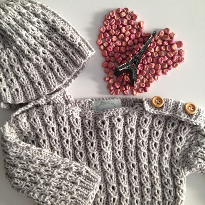 Nuevo modelo de jersey y gorro París. Color Gris Perla. Disponible en Coral, crudo y arena.