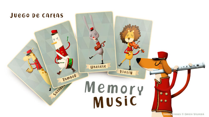 Juego de cartas Memory music. www.emiliovillalba.com