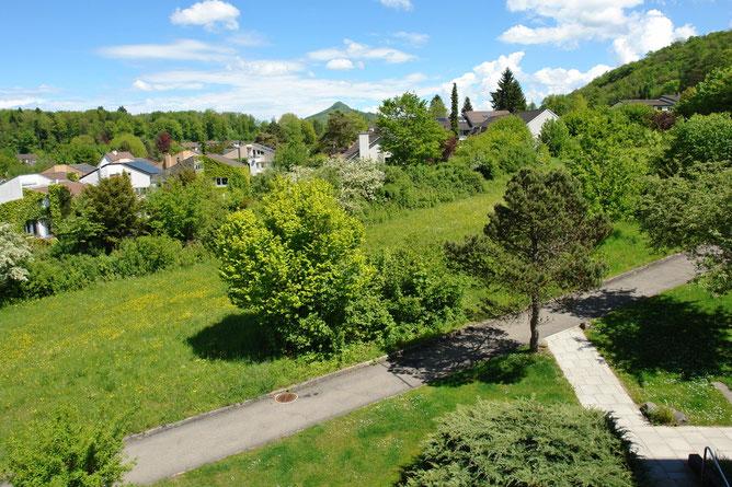 Herrliche Aussicht: Blick aus Essbereich, Küche, Zimmer, bis hin zum markanten Hügelzug der Lägern