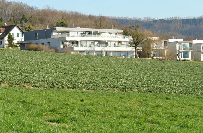 Ansicht an das am Bauzonenrand gelegene Gebäude mit nur fünf Wohnungen