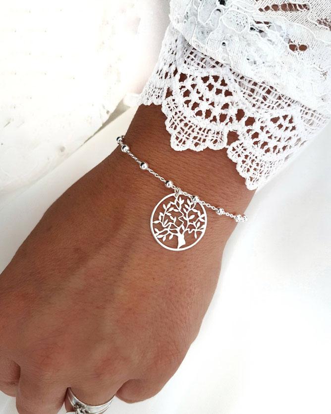 FAMILLE symbole arbre de vie- bracelet arbre de vie Argent 925