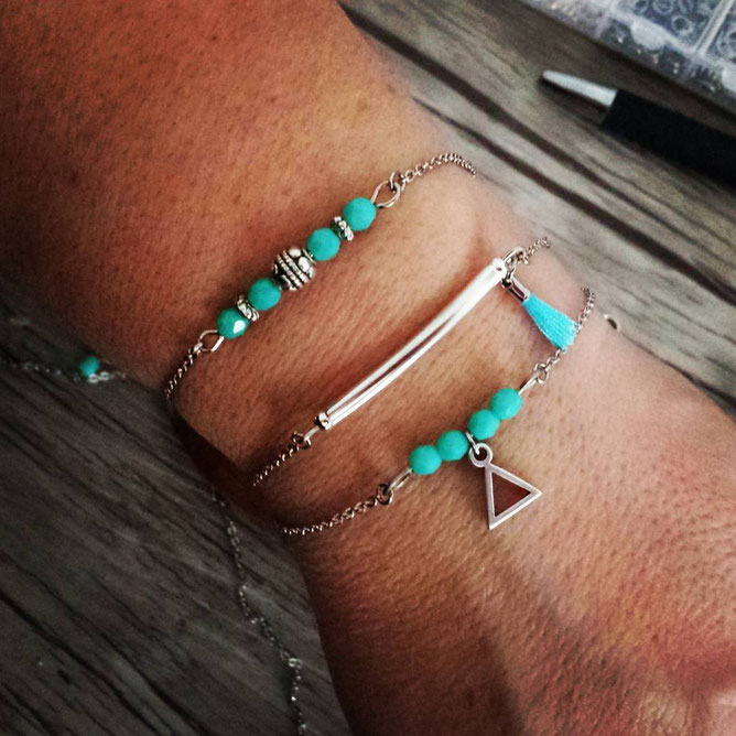 MAEL - mix de Bracelet fin, bracelet bohème, bracelet pompon, bracelet argent, bracelet turquoise, bracelet fait main