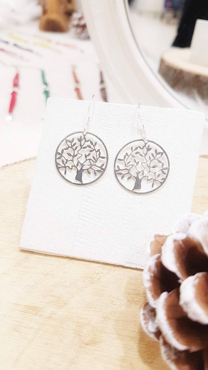 FAMILLE symbole arbre de vie- boucles d'oreilles arbre de vie Argent 925