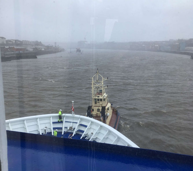 It was so windy that we had to be towed into Newcastle harbour by tugboats