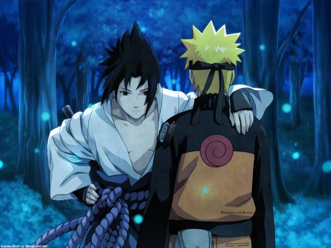 Sasuke Uchiwa de Face au côté de Naruto. Source: http://fr.naruto.wikia.com/wiki/Fichier:Sasuke_et_naruto.jpeg