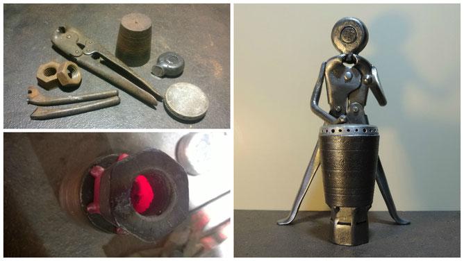 Une pince-coupante pour le corps, deux boulons, un fil à plomb et une petite plaque de feu gaz composent le djembé...