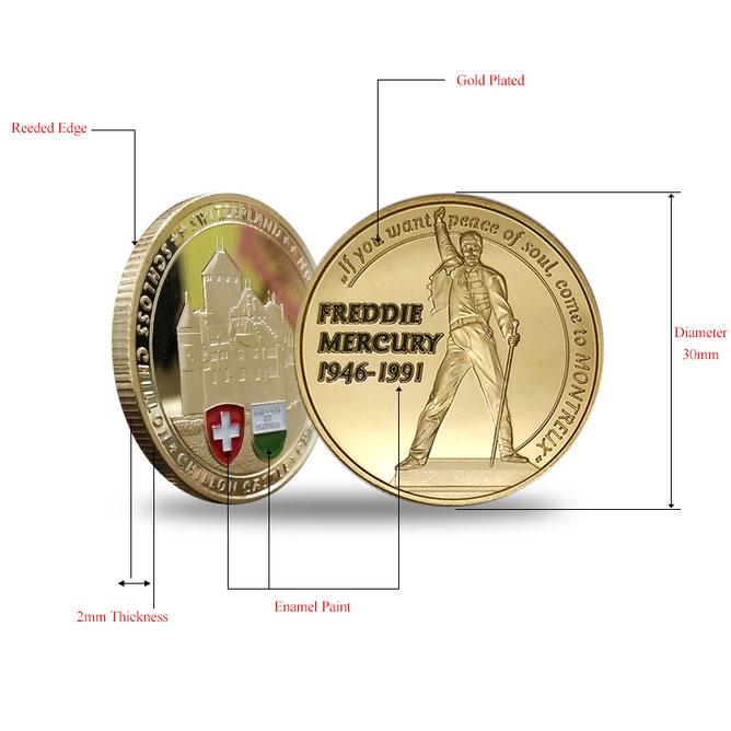 Handkolorierte Freddie Mercury Münze-schau rein