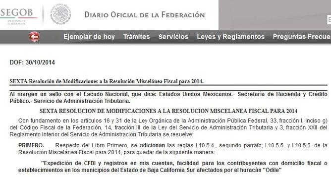 CLIC  EN IMAGEN PARA ENTRAR AL DIARIO OFICIAL DEL DÍA 30 DE OCTUBRE DEL 2014.