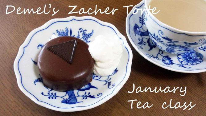 紅茶教室風景・ザッハートルテとエレナリーフ紅茶