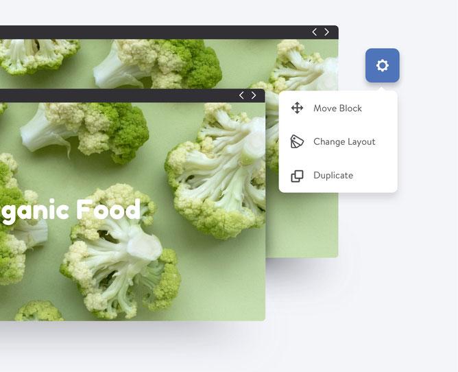 Duplica tus bloques y ahorra tiempo para diseñar tu página web.