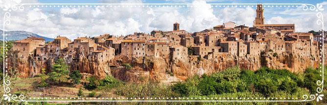 Italien, Toskana, Urlaub, Radreisen, Velotraum, Radfahren, Pitigliano, Dorf, Bergdorf