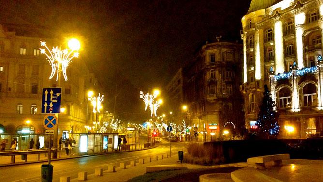 Вечерний Будапешт. Рядом с отелем Геллерт