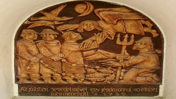 Барельеф с фрагментом спасения балатонских рыбаков