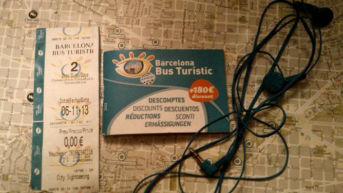 Билеты Bus Turistic, книжечка со скидками и наушники