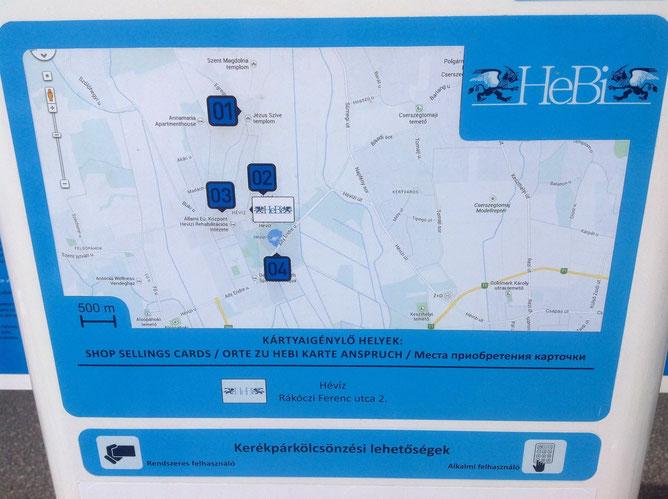 На столбе управления отмечены все прокатные пункты города, их номер и пункт продажи карточек HEBI.
