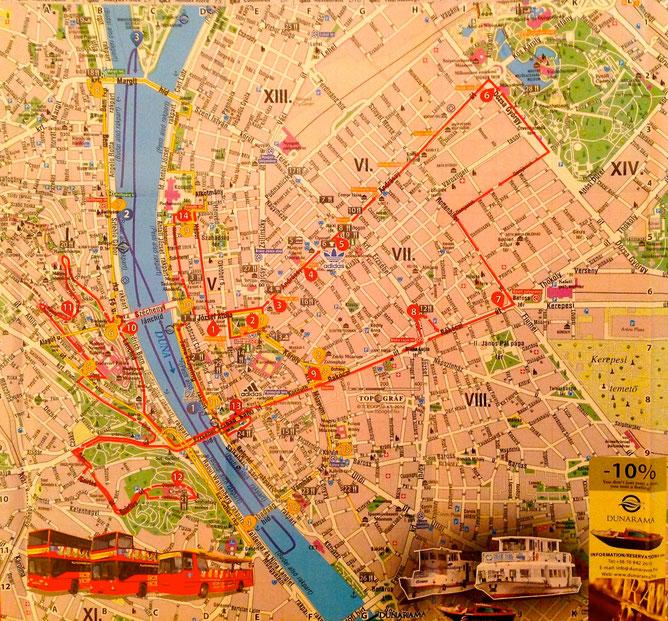 Маршрутная карта (см. красные, желтые и голубые линии). Карта увеличивается при клике