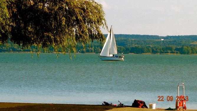 Одинокий парусник на озере Балатон