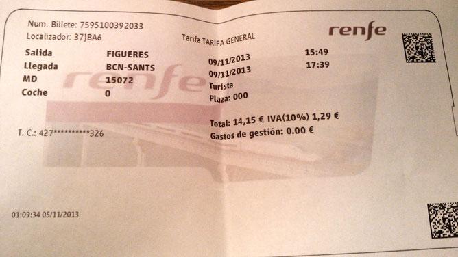 Билеты на поезд в Фигерас