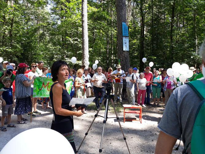 Die Teilnehmer der Demo für den Erhalt des Hauptsmoorwaldes beim gemeinsamen Anstimmen des Hauptsmoorliedes!