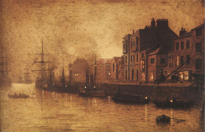 "John Atkinson Grimshaw, ""Sera, Whitby Harbour"" (1893)"