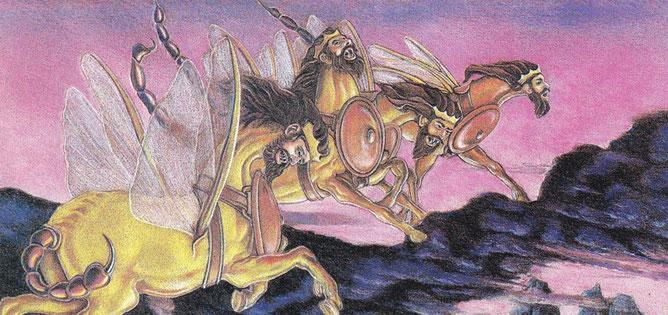 Une nuée de sauterelles se répandent sur toute la terre. Elles ressemblent à des chevaux préparés pour le combat, elles ont des dents de lion et leur poitrine est comme une cuirasse de fer. Elles se lancent dans la bataille avec un bruit tumultueux.