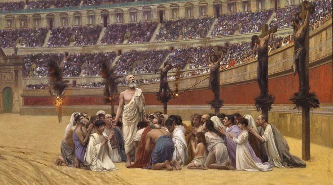 Au IIème siècle, les chrétiens sont persécutés par les empereurs romains. Les apologies ne changent rien. Marc Aurèle lance en 177 une terrible campagne de persécutions impitoyables.