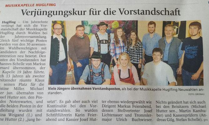 Neuwahlen bei der Musikkapelle Huglfing 2016