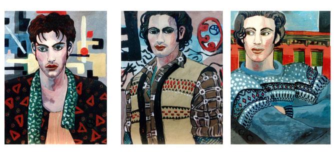 Illustration, Kunst, Malerei, Dekorativ, Jungs, Boys, gut aussehend, Model, Mann,