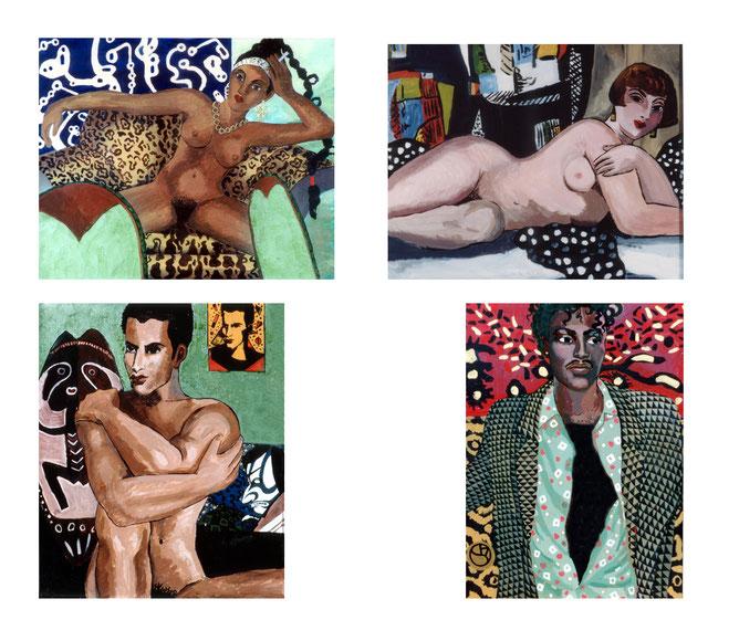 Illustration, Porträt, Bilder, Akt, Mann, Frau, liegen, sitzen, nackt, Kunst, Oelbild, Malerei, Schwarzer, Afro-Amerikaner
