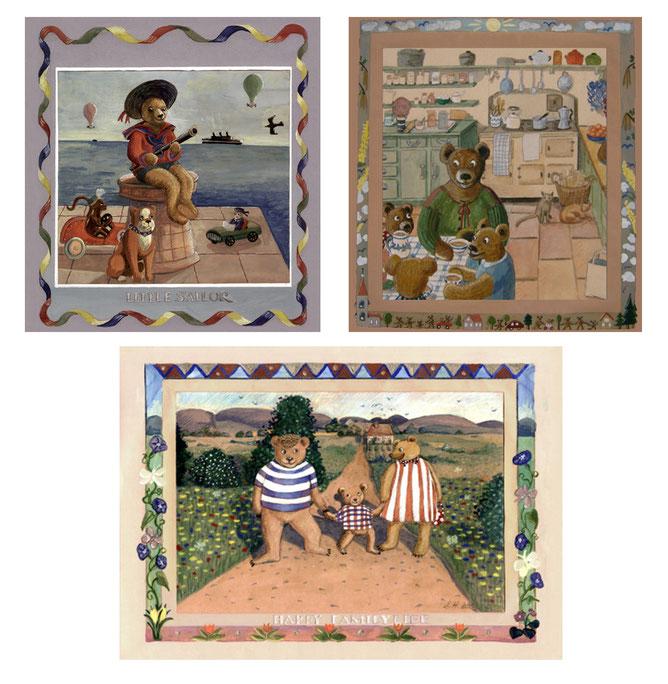 Illustration, Comics, lustig, witzig,Teddy, Bär, Bärenfamilie, nostalgisch, Teddybär, Teddybären, zuhause, am Meer, Spielzeug,