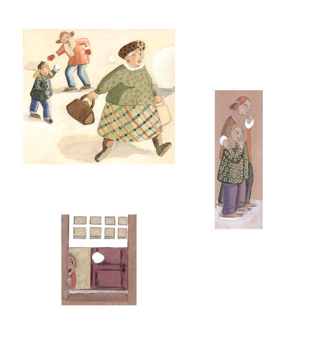 Illustration, Comics, lustig, witzig, Bruder, Schwester, Oma, Nachbarin, Knabe, Mädchen, Schneeball, lachen, werfen, flüchten, Fenster,