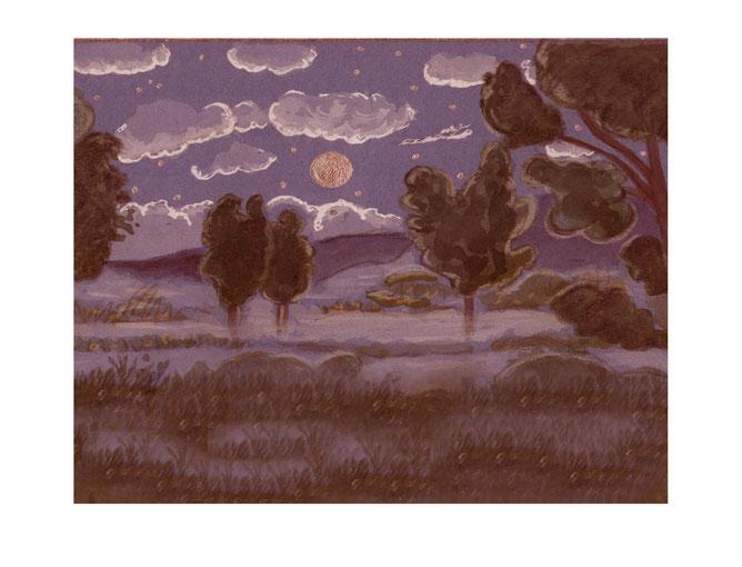 Illustration, Comics, Kinderbuch, Vollmond, Mond, Vollmondnacht, Nebel, Bodennebel, Stimmung,Nacht, Mondnacht