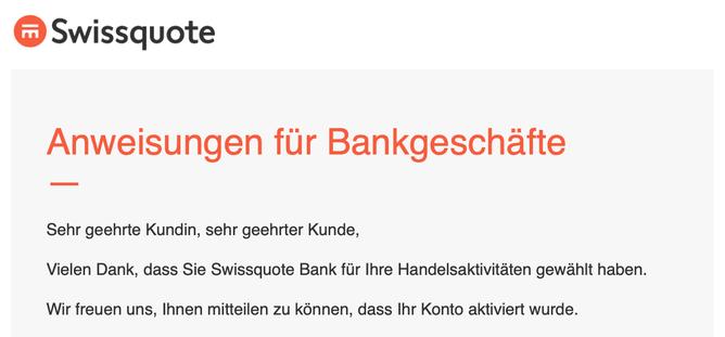 Bestätigung Kontoeröffnung Swissquote