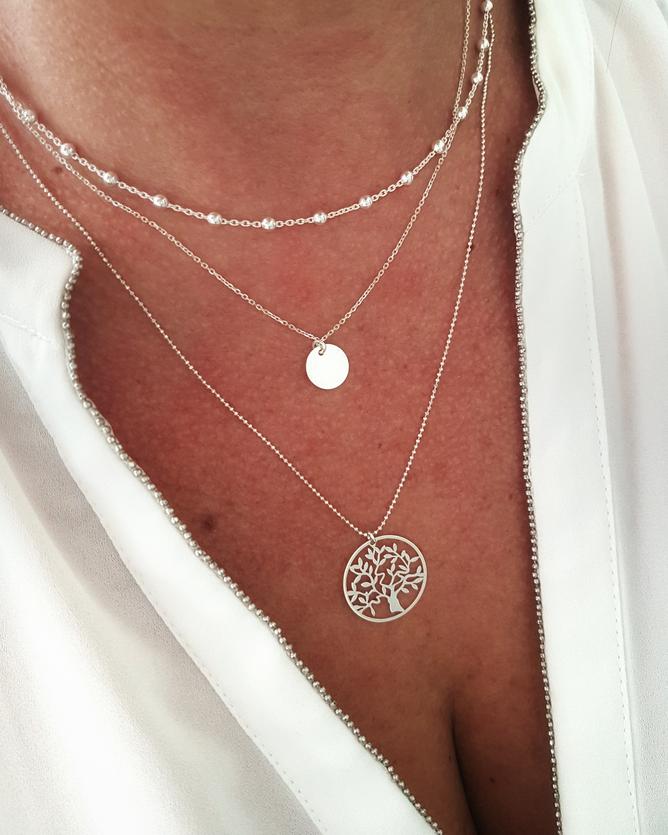 FAMILLE symbole arbre de vie- collier chaîne Argent 925