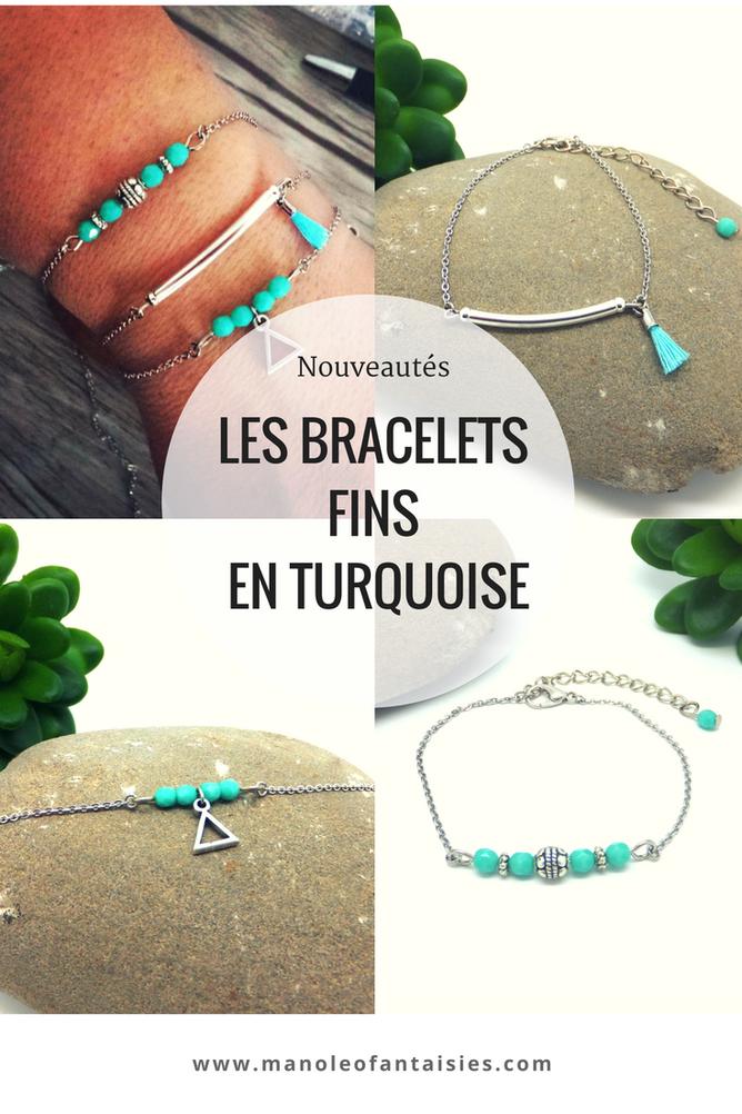 Les bracelets fins en turquoise Manoléo Fantaisies, bracelets bohème, bracelets faits main Article blog