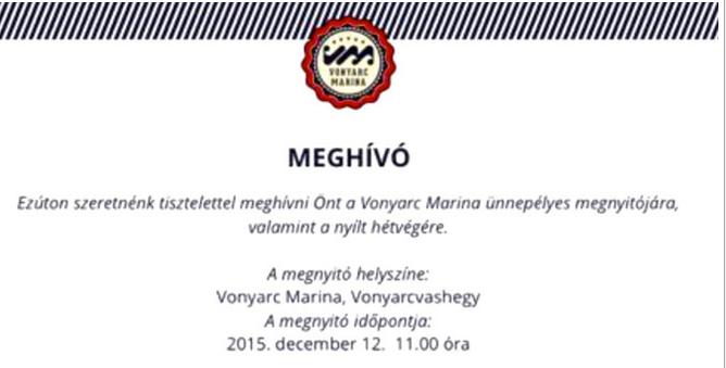 Приглашение порт Марина Воньярц