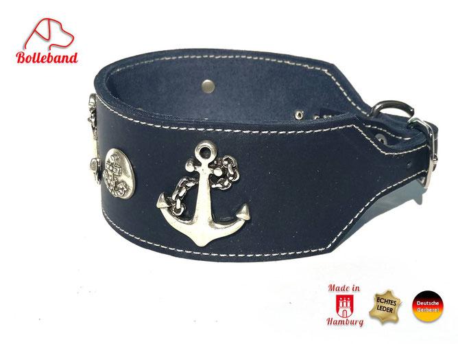Windhundhalsband Leder navy mit Anker 6 cm breit Bolleband