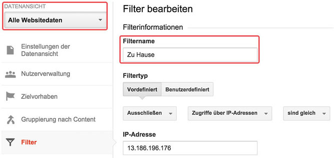 filter bearbeiten google analytics