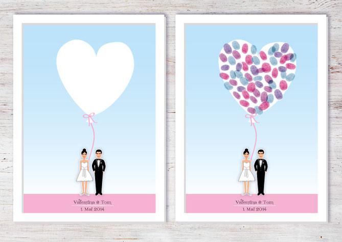 Hochzeit Poster Fingerabdruck