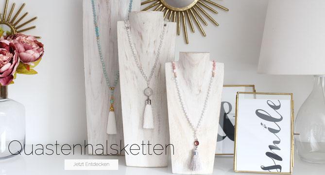 Entdecke unsere handgemachten Edelsteinperlenketten mit Quastenanhängern in vielen verschiedenen Farben uns Stilen.