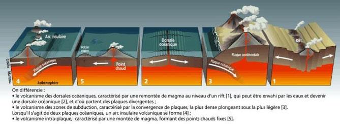Schéma-bilan des déplacements et fonctionnement des plaques lithosphériques. Sources: cliquer sur l'image.