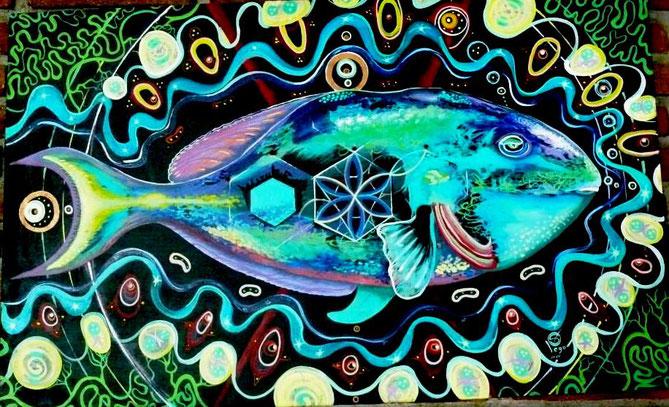 pez perico en travesia por akasha. Acrilico sobre tela. 120 x 81cm