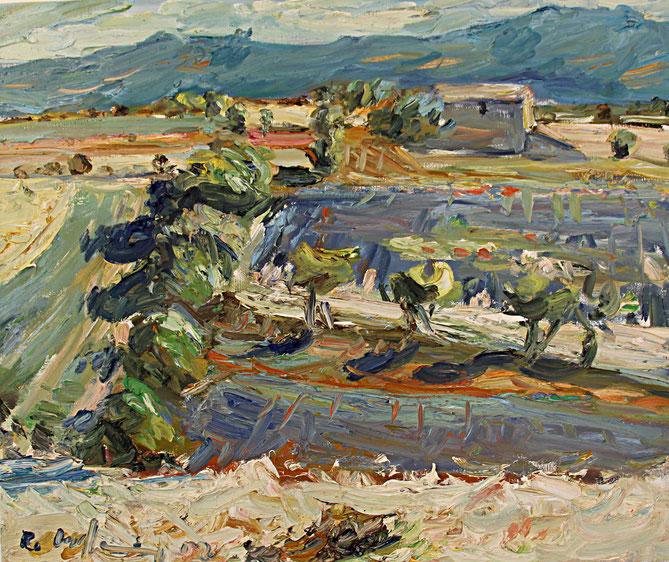 Gehöft bei Ferrassières   2002, Öl auf LW, 46 cm x 55 cm