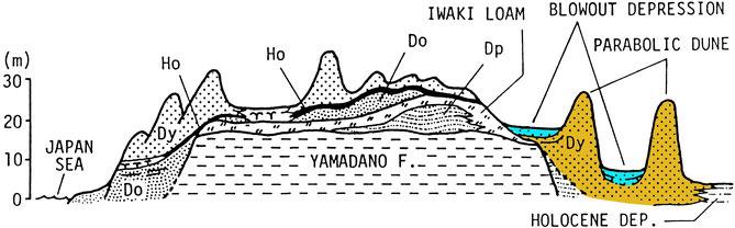 図3 津軽屏風山砂丘の地質構造(桑原ほか、1987)