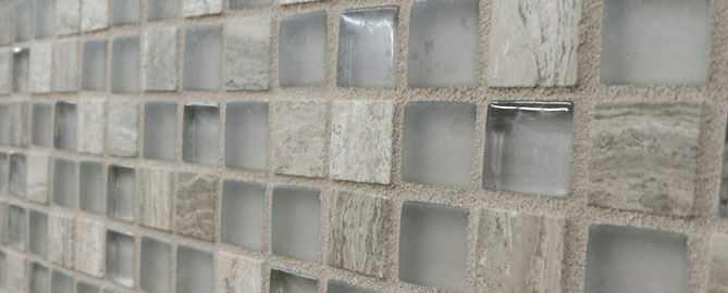 Grey lavendar limestone mosaic with matte and glass