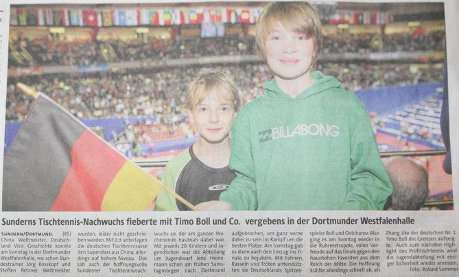 Sunderns Tischtennis-Nachwuchs fieberte mit Timo Boll und Co vergebens in der Dortmunder Westfalenhalle - Westfalenpost vom 3.4.12