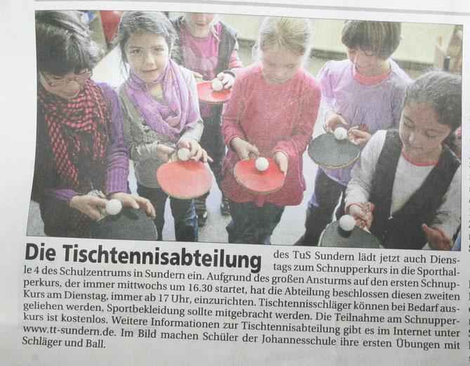 Die Tischtennisabteilung  - Sauerlandkurier vom 1.4.12