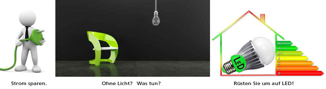 Strom und Energie sparen - Umrüsten auf LED mit effizienten LED Leuchtmittel und Lampen