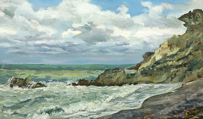 Emre Baykal, Mediterranean Sea shore, 2004. Oil on canvas, 31 x 50 cm